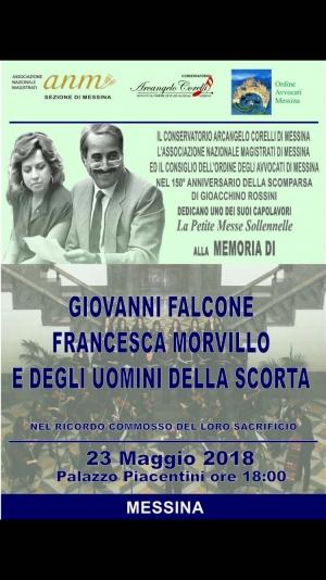 Concerto a Palazzo Piacentini. Oggi 23 maggio a Messina.Ricordando il magistrato Falcone e non solo