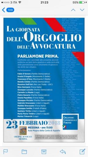 Presso il Palazzo di Giustizia a Messina. La giornata dell'orgoglio con i candidati  potenziali rappresentanti in Parlamento