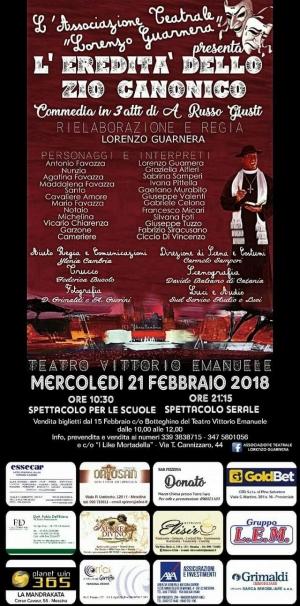 """Messina - 21 febbraio con spettacolo alle ore 10,30 per le scuole e alle ore 21,15 per gli adulti  la compagnia """"Lorenzo Guarnera"""" si presenterà al Teatro Vittorio Emanuele regalando al pubblico presente due ore di sane risate."""