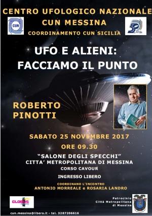 Messina: Convegno del Centro Ufologico Nazionale con la presenza dell'ufologo Roberto Pinotti