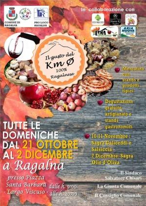 I Mercatini d'Autunno a Ragalna fra prelibatezze dell'Etna a km0, street food, menù a tema, artigianato e folclore. Tutte le domeniche  dal 21 ottobre al 2 dicembre