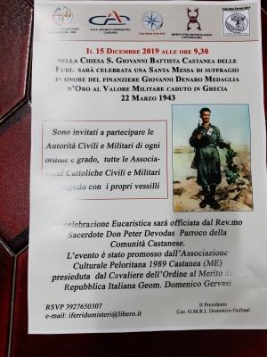 S. Messa  giorno 15 dicembre in onore di Giovanni Denaro M.O al Valor Militare