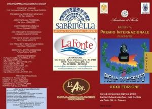 Premio speciale PIGNA D'ARGENTO XXXII Edizione all'On.le Nello Musumeci. Premiato con la Pigna d'Argento Renato Di Pane per la Letteratura.