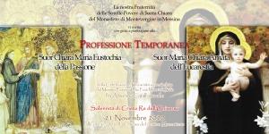 PROFESSIONI TEMPORANEE AL MONASTERO DELLE CLARISSE  DI MONTEVERGINE IN MESSINA