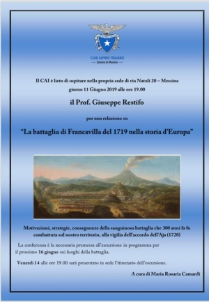 Il Prof Restifo e la prof Camardi per il CAI Messina relazionano intorno alla  battaglia di Francavilla del 1719