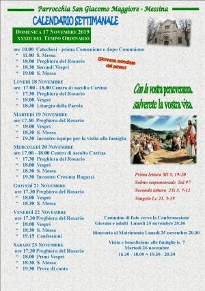 Il calendario settimanale della Parrocchia San Giacomo Maggiore di Messina