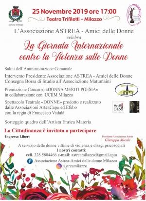 A Milazzo 25 novembre serata Astrea per le donne vittime di violenza L'arte dalla parte delle donne. Enrica materia dona una sua opera