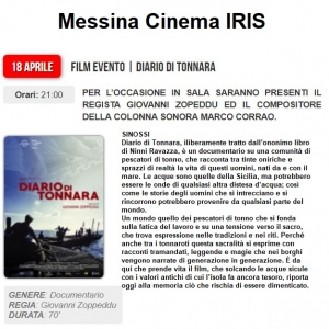 Messina 18 aprile. Cinema Iris. Film evento.