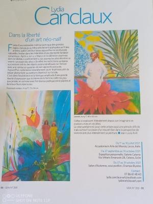 28 settembre ore 18:30: Mostra Personale di Lydia Canclaux in Italia con il suo critico d'arte Maria Teresa Prestigiacomo