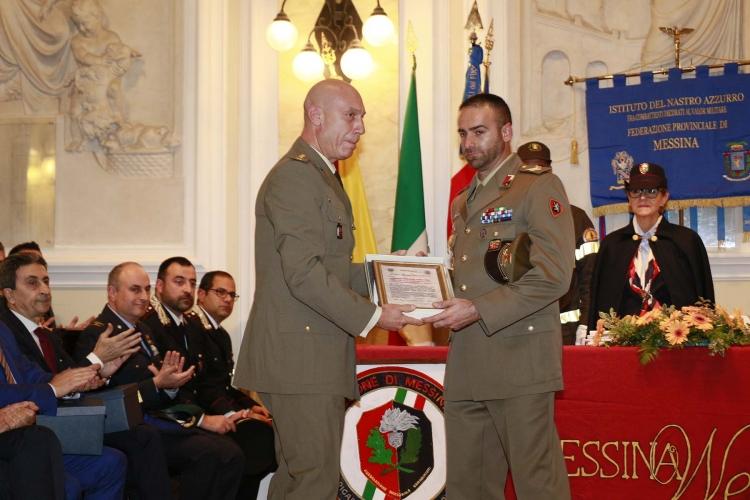 """Messina 6.12.2018  """"Premio Orione  Speciale  - conferito al Sergente Rosario FAZZONE,  effettivo al 4° Reggimento Genio Guastatori della Brigata """"Aosta""""."""