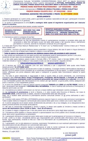 "PREMIO ""MARE NOSTRUM MEDITERRANEO"" 2020 PREMIO ""MARIA CELESTE CELI"" 2020"